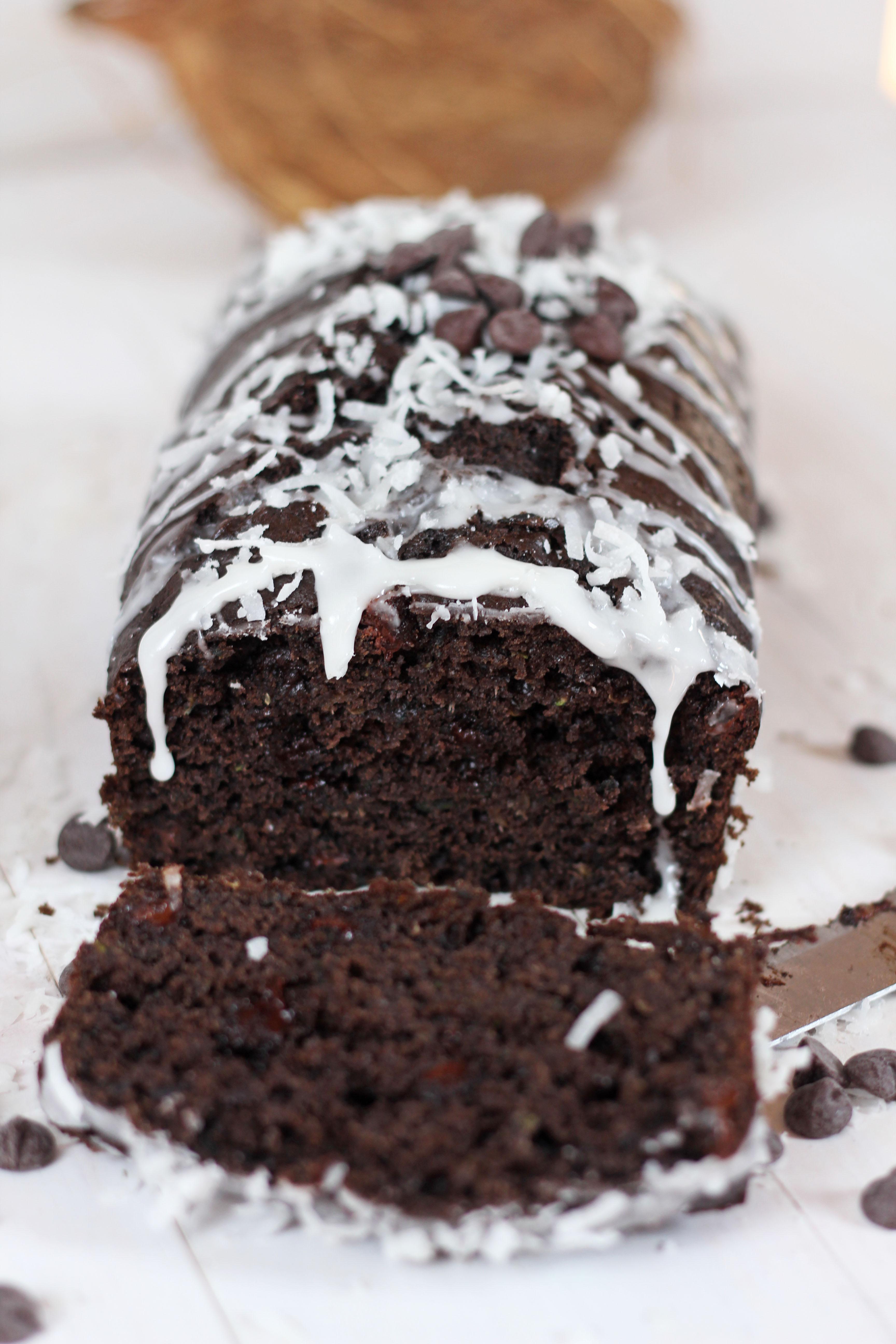 dark chocolate zucchini bread with coconut glaze  gather