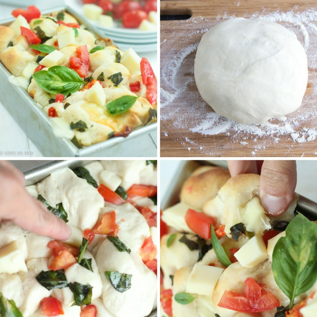Pull Apart Caprese Bread - Pull apart bread yeast topped with delicious fresh tomatoes, mozzarella, and basil. Homemade dough, makes a great appetizer or starter.