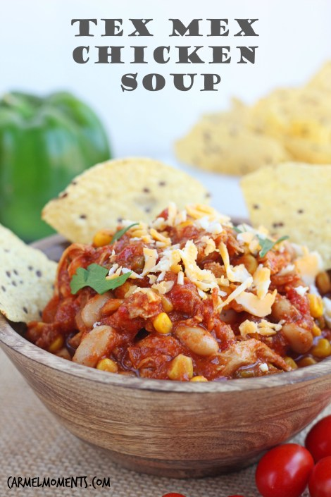 Tex Mex Chicken Soup -- Delicious tex mex soup with southwestern flair chock full of chicken, beans, tomatoes and more. | gatherforbread.com