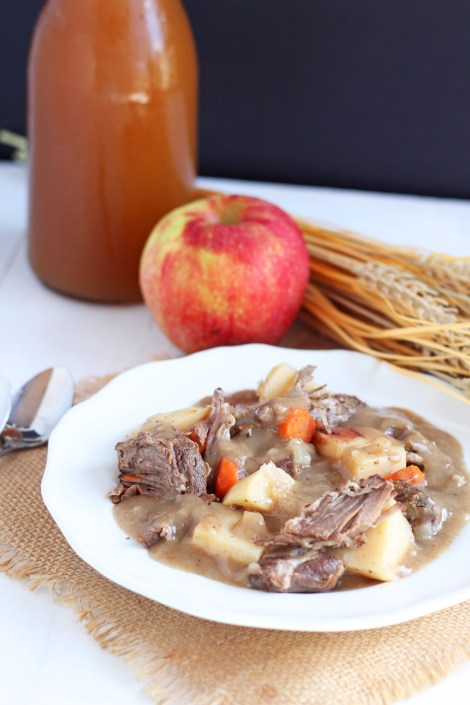 Apple Cider Beef Stew -- easy slow cooker meal combines the flavors of apple with classic beef stew.  gatherforbread.com