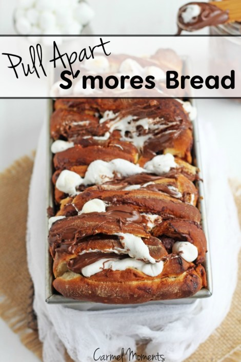 Pull Apart Nutella Smores Bread -- Sweet bread stuffed with marshmallows and Nutella, perfect for every party | gatherforbread.com