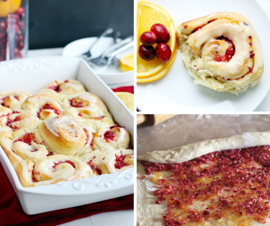 Cranberry Orange Sweet Rolls. - Cinnamon like buns made with homemade dough. Fresh cranberries combined with delicious orange marmalade. Sunshine for your Christmas morning, these bake up beautifully.