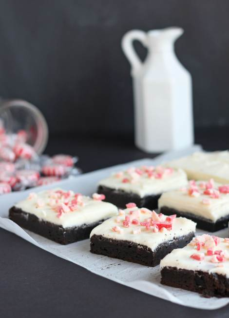 Cheese Frosted Brownies | gatherforbread.com