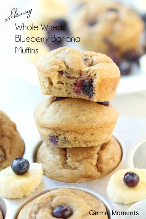 Skinny Whole Wheat Blueberry Banana Muffins