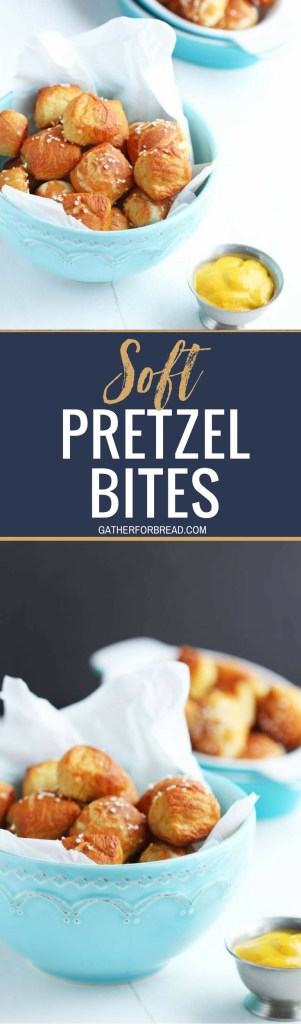 Homemade Soft Pretzel Bites - Perfect little bite-sized pretzel are the perfect snack for the BIG game. Great for parties, platters and snacking with the kids. Dipped in mustard or cheese these are unbelievably good!