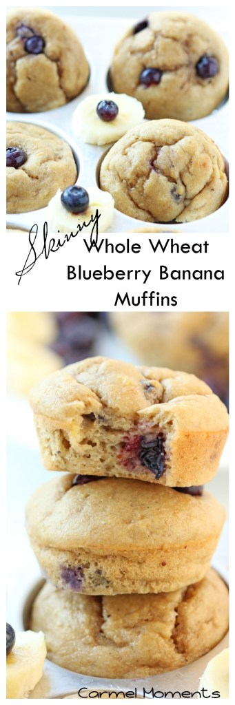 Skinny Whole Wheat Blueberry Banana Muffins   gatherforbread.com