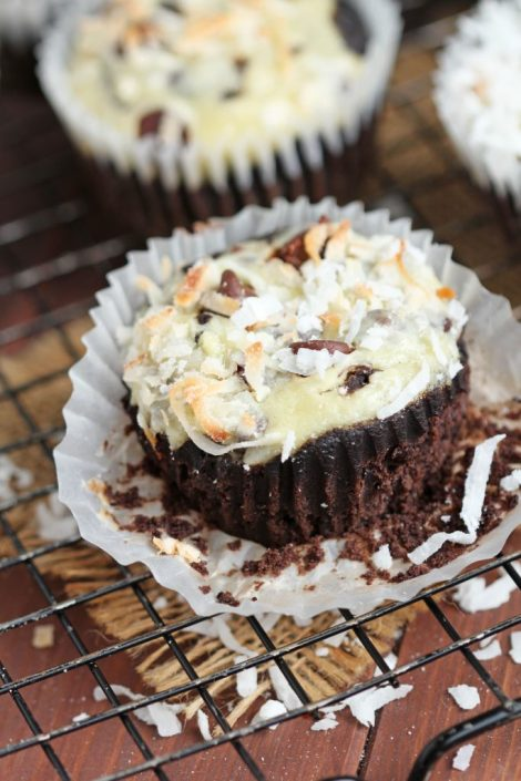 Coconut Chocolate Muffins - Moist and flavorful. Cream cheese adds richness, coffee adds flavor. Perfect for breakfast or dessert or anytime you're craving something sweet.