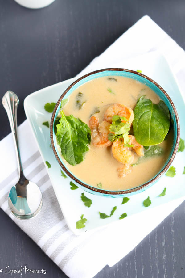 Coconut Spinach Shrimp Soup