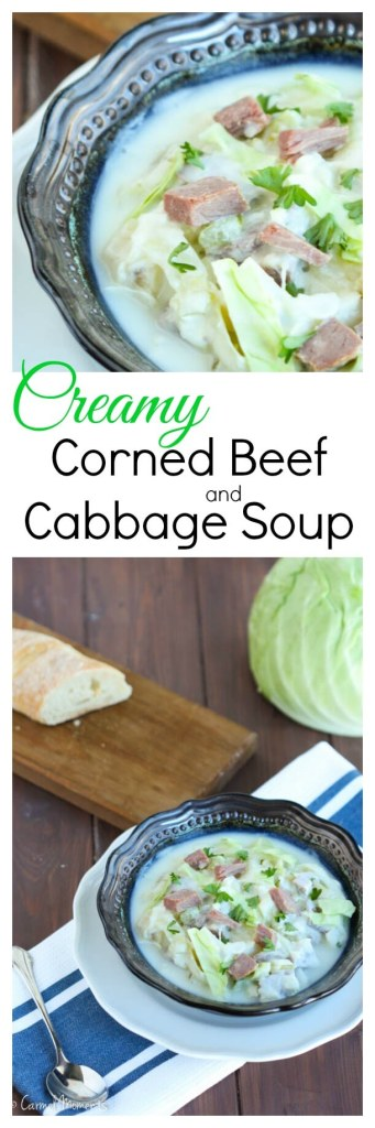 Creamy Corned Beef and Cabbage Soup - Delicious, smooth. Corned beef, potatoes cabbage makes perfect use of leftovers. One of the best chowder recipes I've made!