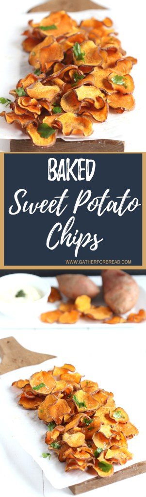 Baked Sweet Potato Chips - Healthy, gluten free, chips, these whole food snack are REAL sweet potatoes. Homemade with 4 simple ingredients.