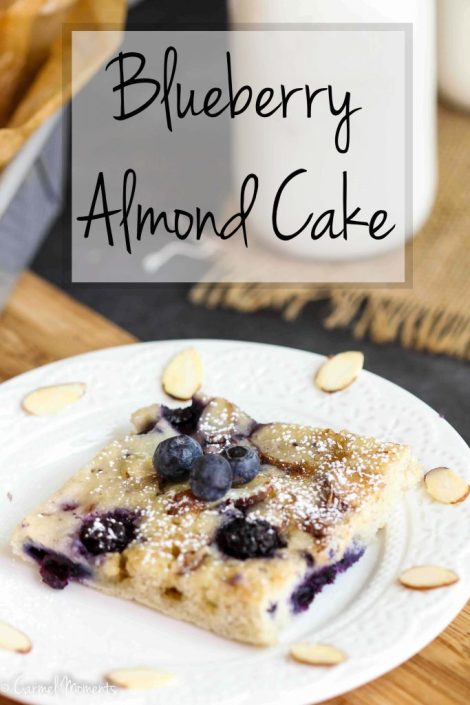Blueberry Almond Coffee Cake - A delicious simple cake studded with blueberries and topped with a light streusel and almonds.