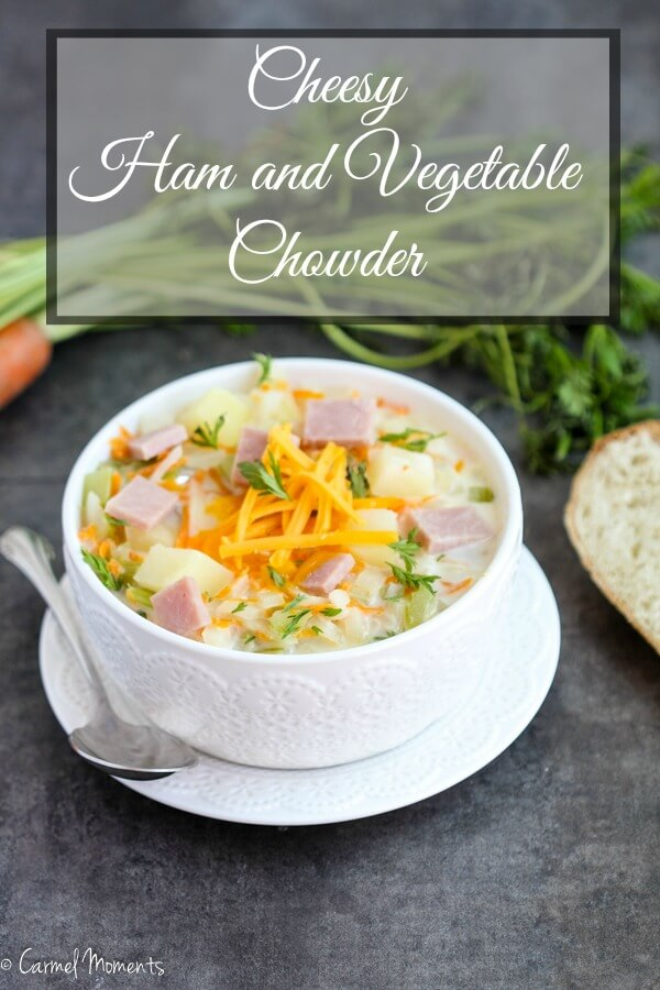 Cheesy Ham and Vegetable Chowder - Delicious creamy soup chock full of ham and a variety of veggies. The whole family loved this soup that's easy to put together. Perfect for that leftover ham!