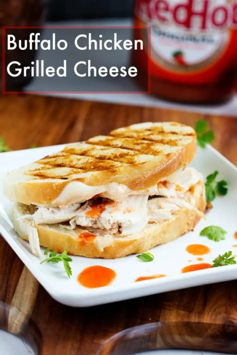 Buffalo Chicken Grilled Cheese - This grilled cheese sandwich bread is stuffed with melty cheese, rotisserie chicken smothered with hot sauce for the ultimate buffalo chicken sandwich.