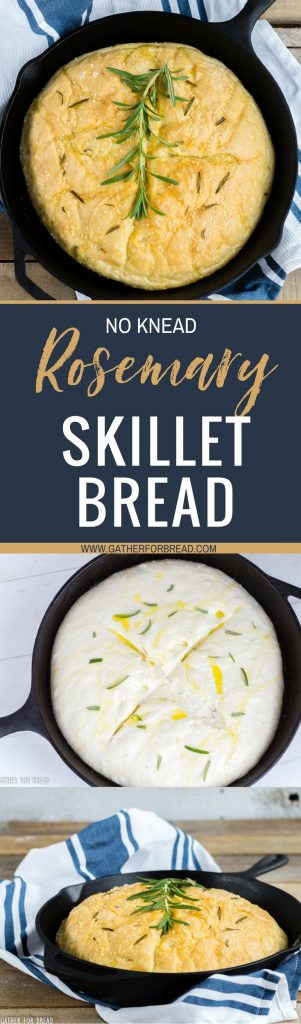 Rosemary No Knead Skillet Bread - Delicious and easy, this loafbakes up quickly. Fresh, simple - olive oil, rosemary, and seasoning for the perfect rise yeast bread in a skillet.
