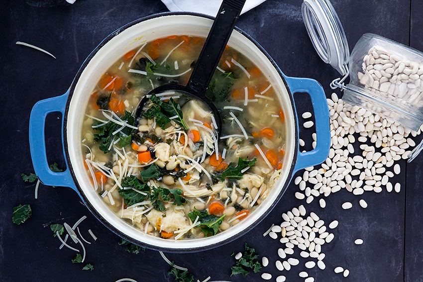 Chicken Kale and Bean Soup | Easy, healthy soup. That's perfect for lunch or dinner. Leftovers welcome! | gatherforbread.com