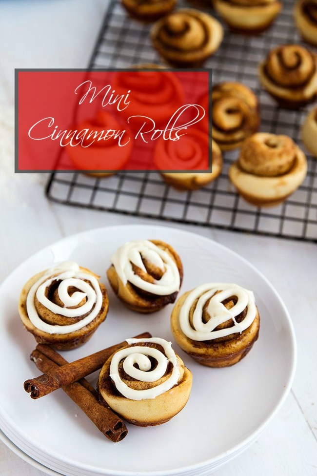 Mini Cinnamon Rolls - These homemade mini rolls are perfect for breakfast and desserts. Grab and go style wrapped up with buttery cinnamon goodness and topped with a delicious cream cheese glaze. // gatherforbread.com
