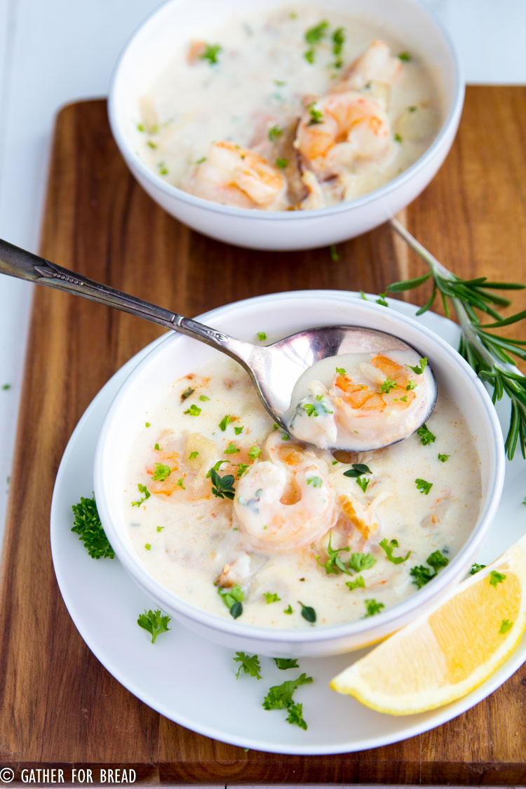 Creamy Seafood Chowder - Chunky seafood chowder with real cream, shrimp, scallops and crab. No potatoes or fillers, just good seafood, hearty perfect flavor.