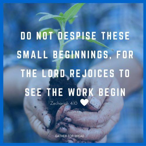 Do not despise these small beginnings Zechariah 4-10 | GATHERFORBREAD.COM