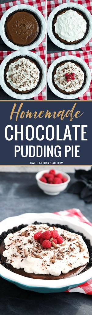 Homemade Chocolate Pudding Pie – All from scratch chocolate pudding pie in a chocolate wafer crust. Made with fresh ingredients like real milk and cream you're sure to never want store bought pie again! #chocolate #homemade #dessert #pie #pudding