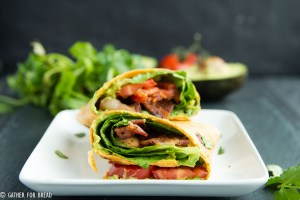 BLT Avocado Wrap - Easy , 5 ingredients guacamole blt wrap. My favorite! | gatherforbread.com