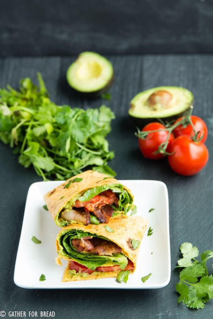 BLT Avocado Wrap - Easy , 5 ingredients guacamole blt wrap. My favorite! | gatherforbread.com