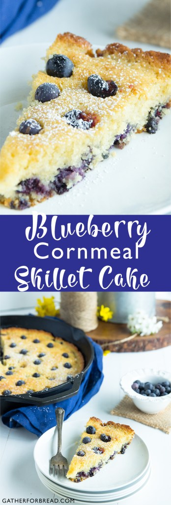 Blueberry Cornmeal Skillet Cake | gatherforbread.com