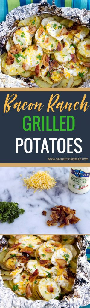 Bacon Ranch Grilled Potatoes - Sliced potatoes flavored with real Ranch dressing, bacon and cheese for an ultimate summer grilled side dish. Everyone will want to come to your place for dinner with this tasty foil pack.