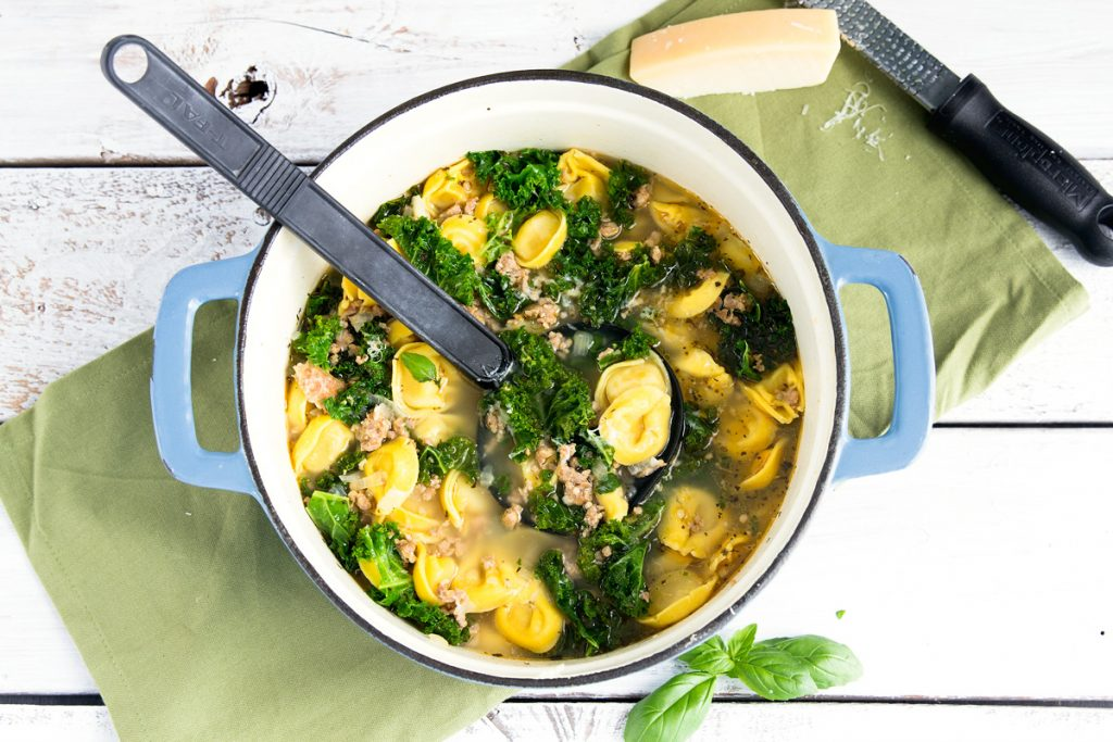 Sausage Kale Tortellini Soup