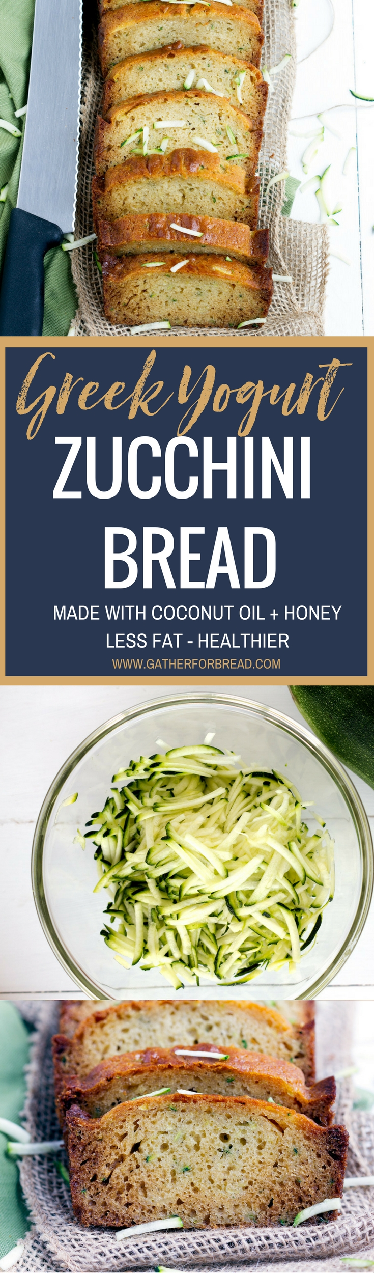 Greek Yogurt Zucchini Bread - Traditional homemade zucchini bread made healthy with Greek Yogurt, coconut oil and honey. Less fat yet still makes a moist delicious loaf that's easy to make.