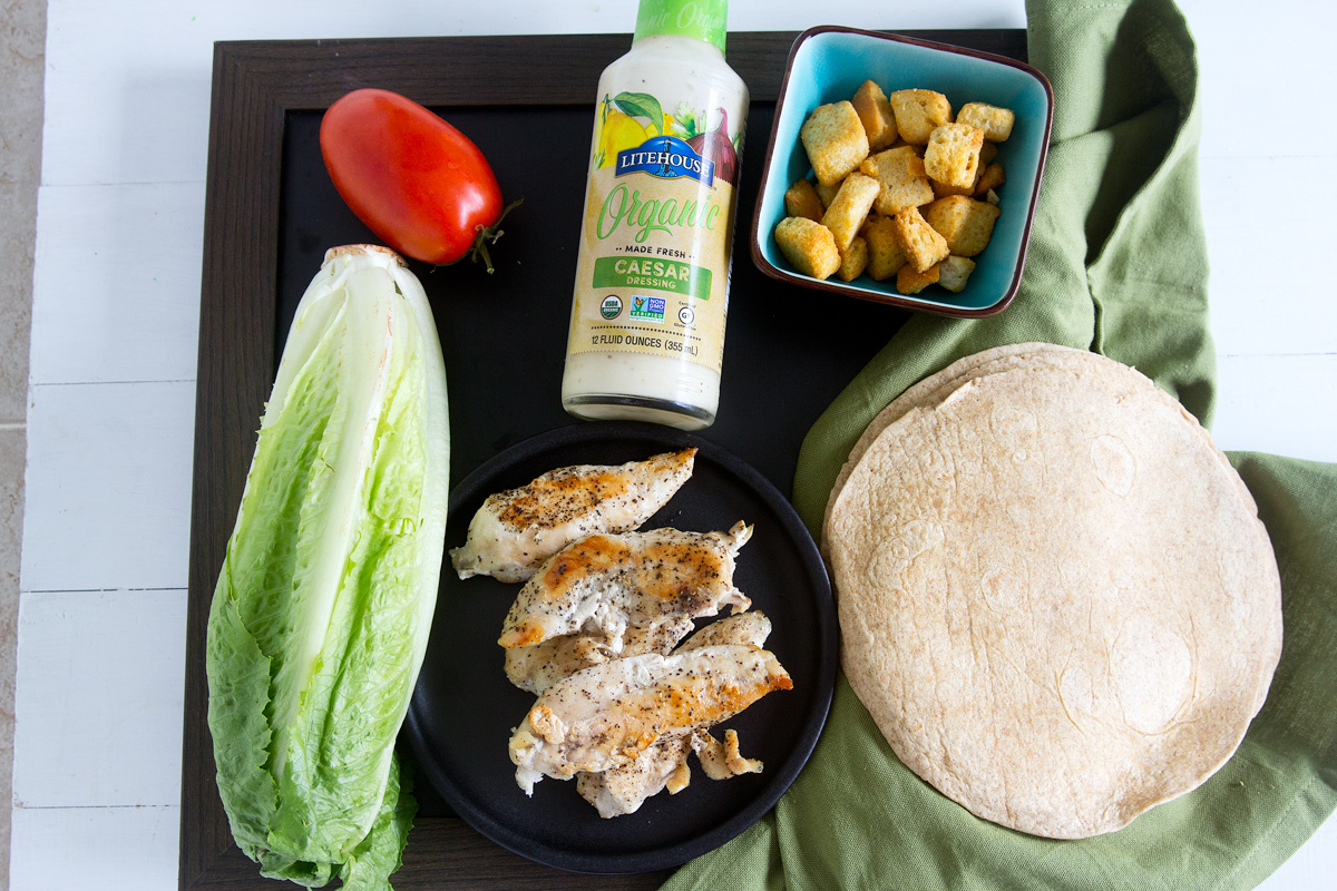 Chicken Caesar Wraps - Quick easy meal in 20 mins Chicken, romaine lettuce, tomatoes, croutons and Caesar dressing make a simple easy lunch or dinner.