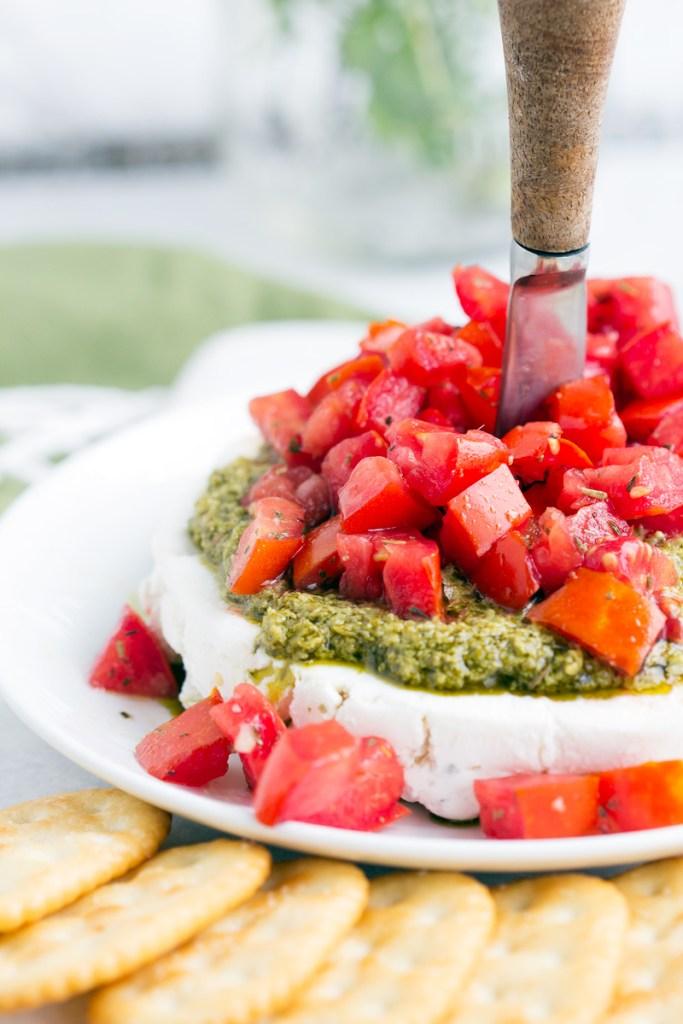 Goat Cheese Pesto Tomato Appetizer