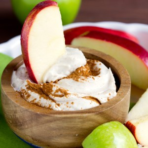 Cream Cheese Brown Sugar Apple Dip - Easy fluffy apple dip appetizer made with cream cheese brown sugar and marshmallow fluff for a simple fall snack.