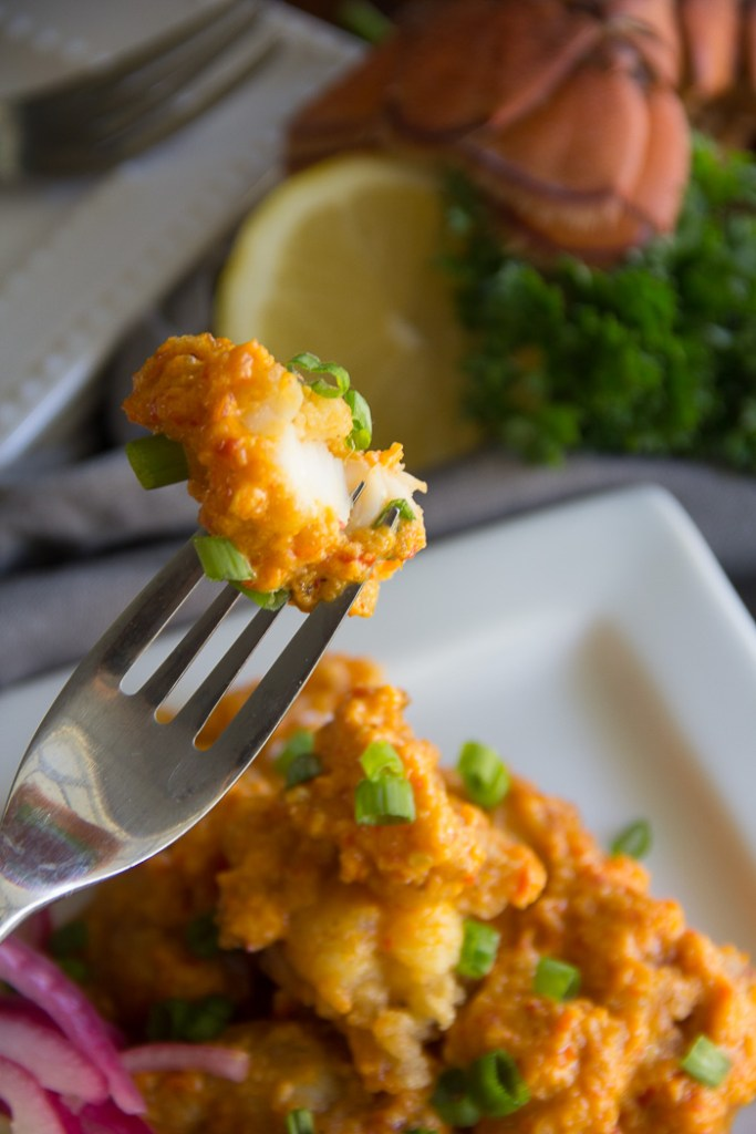 Gluten Free Spicy Lobster Bites - Lobster, lightly pan-fried succulent lobster. These gluten free bites are tossed in a spicy chili cream sauce