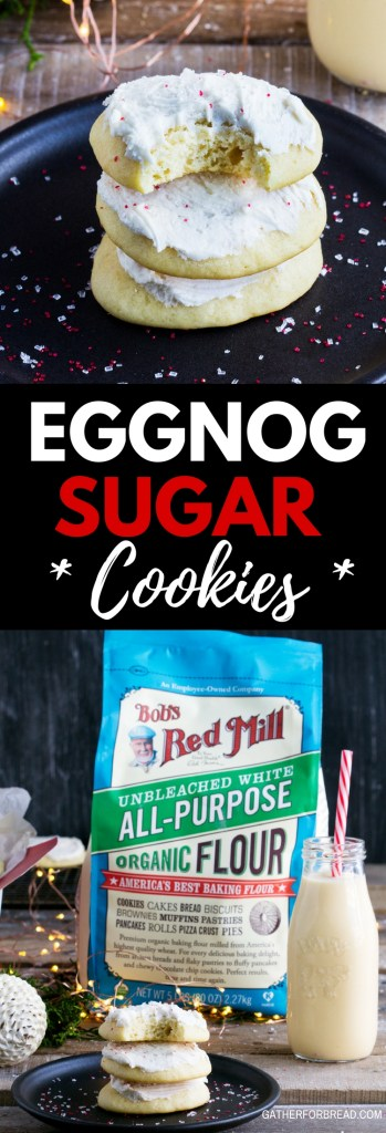 Eggnog Sugar Cookies - Soft sugar cookies made with eggnog and frosted with a simple sweet eggnog frosting. Perfect to give and serve for Christmas and the holidays. | gatherforbread.com