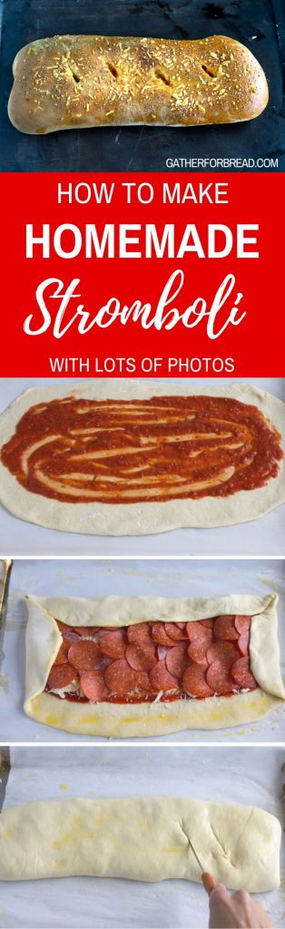 Homemade Stromboli - Recipe for how to make homemade stromboli made with pizza dough. Real dough, stuffed pepperoni salami and cheeses for an authentic Italian dinner.