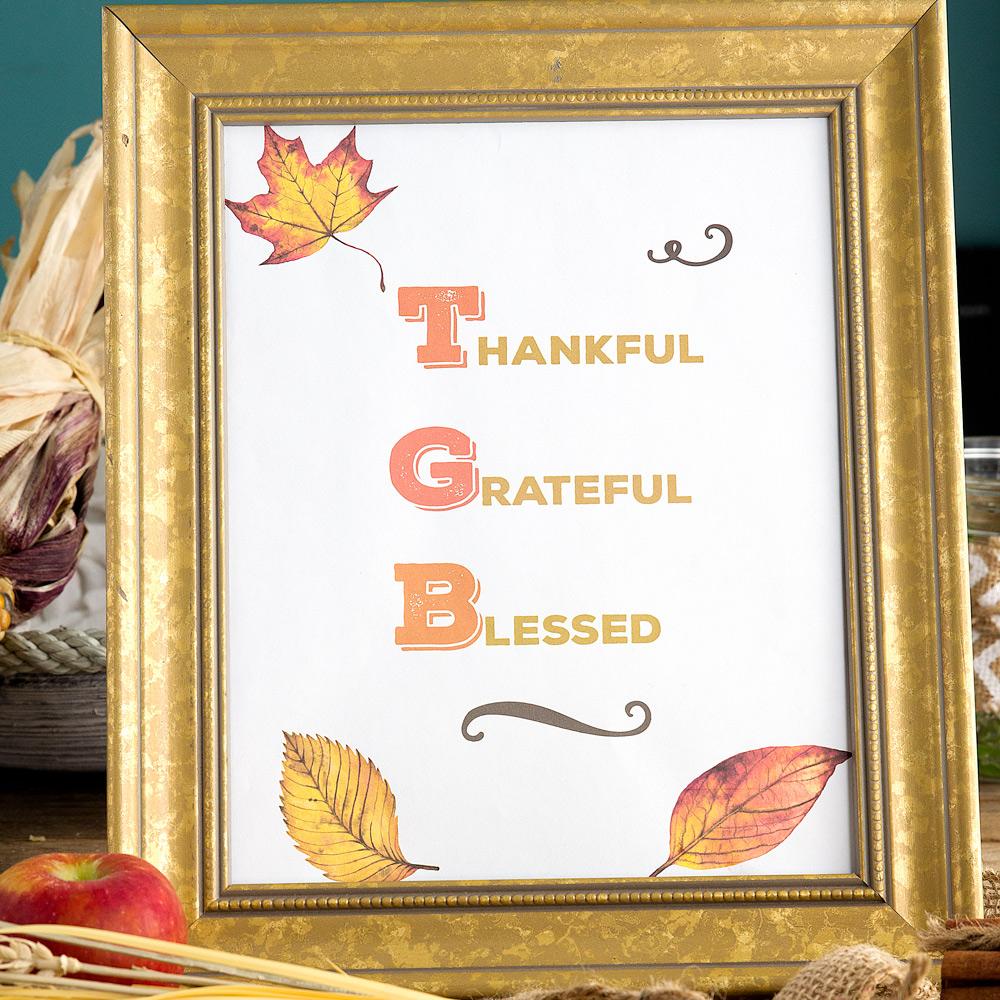 Thankful Grateful Blessed Free Printable Thanksgiving