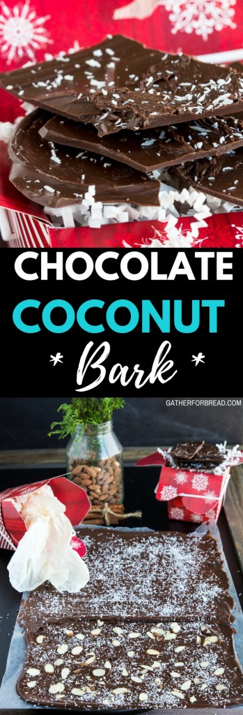 Chocolate Coconut Bark - Delicious thin chocolate candy bark topped with shredded coconut. Simple treat made in minutes makes a perfect gift to give. #coconut #bark #candy #chocolate #gifts #homemade