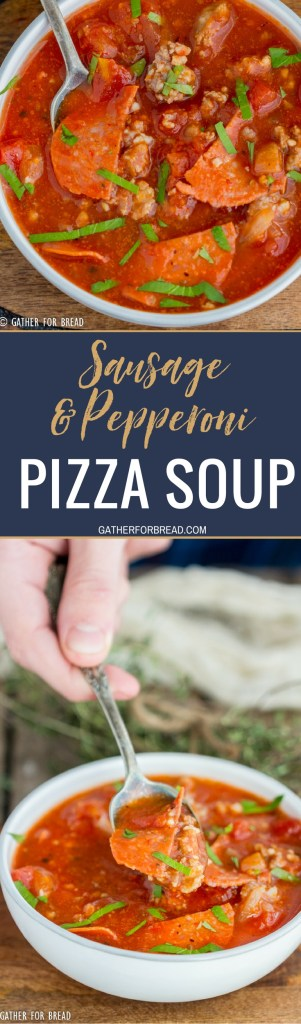 Pizza Soup loaded with sausage and pepperoni - This easy cheesy soup is made with pizza sauce and mozzarella cheese. Family friendly, low carb favorite for a quick meal!