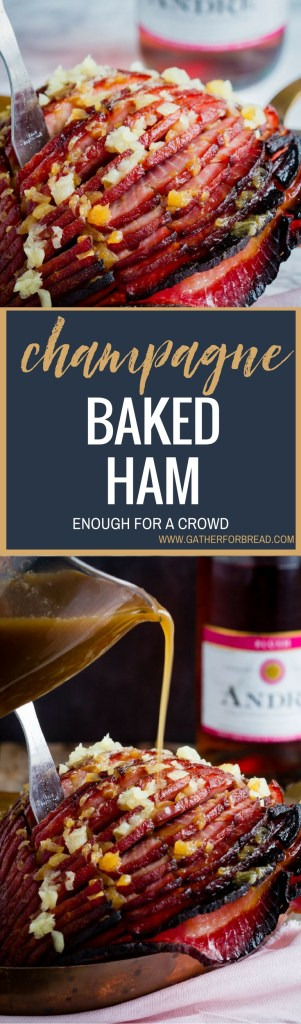 Champagne Baked Ham Champagne maple syrup pineapple combine for delicious glaze over boneless baked ham. Easter and Christmas dinner favorite. Great recipe to feed a crowd.