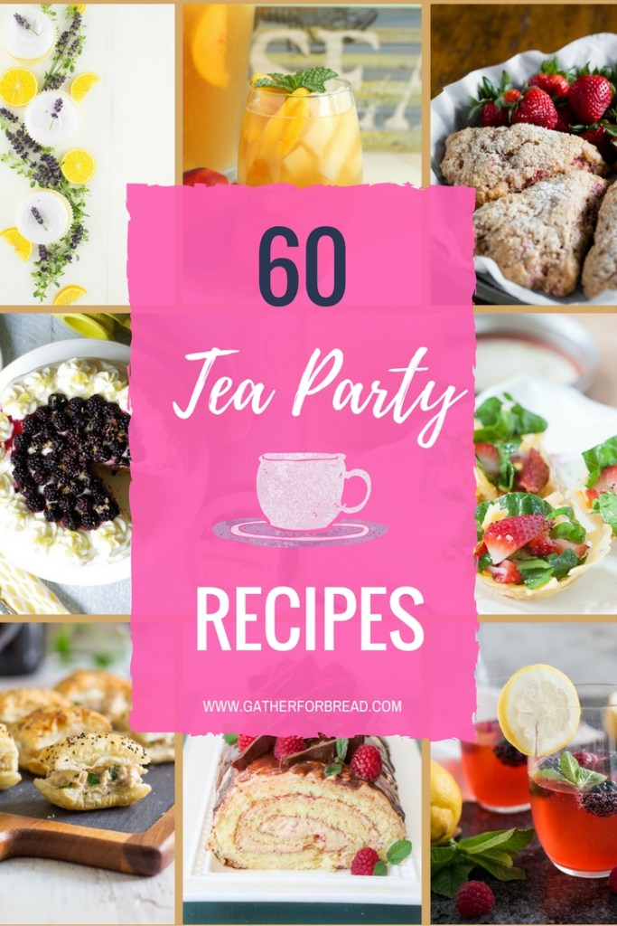 Tea Party Recipes - Featuring a round up of ideas for tea parties. Bites, little eats, appetizers, mini sandwiches, scones, desserts and more. A collection of lots of recipes to pull off a fun tea party.