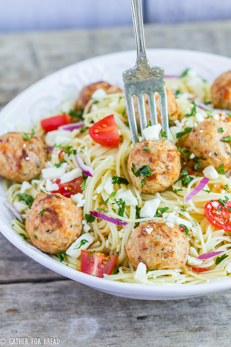 ANGEL HAIR PASTA CHICKEN MEATBALLS - GATHER FOR BREAD