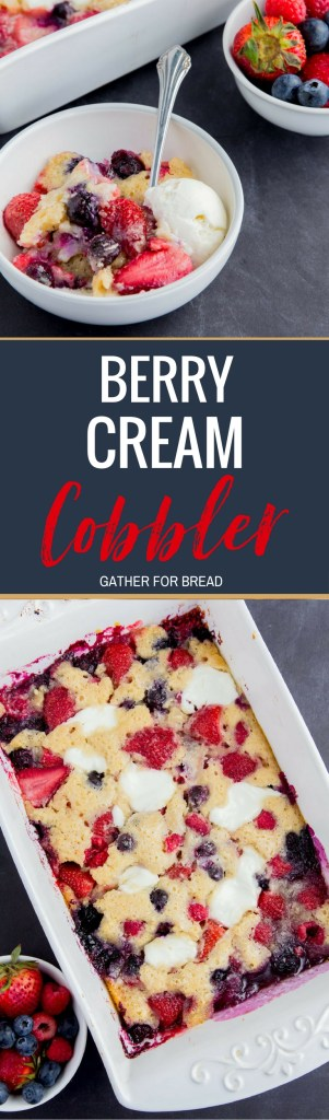 Berry Cream Cobbler- Lighter, healthy, low-fat cobbler recipe mad easy with Greek yogurt, white whole wheat flour, less sugar. Mixed berries, blueberry, strawberry, raspberry. You won't miss the old fashioned version.