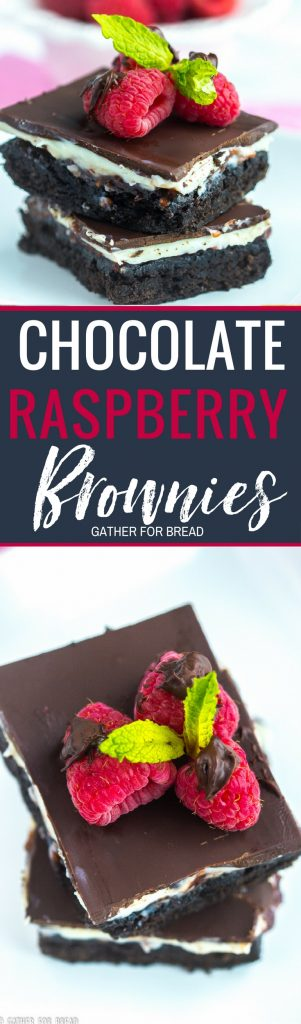 Chocolate Raspberry Brownies - Chocolate brownies layered with cream filling raspberry jam and topped with semisweet chocolate. Delicious bars are the best with acream cheese layer and delicious raspberry jam.>