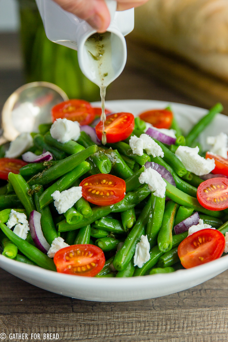 Cold Green Bean Salad - Best Marinated string bean salad recipe - made with a homemade vinaigrette, perfect side dish for summer picnics, potlucks, grilling and more.