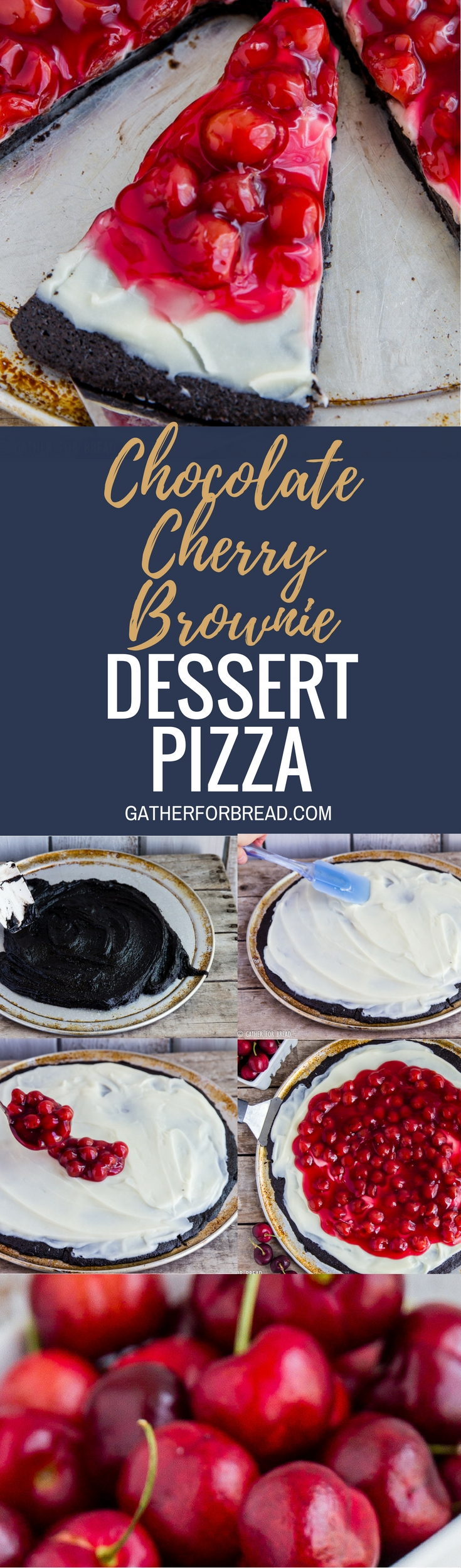 Chocolate Cherry Brownie Dessert Pizza - Cherry cheese dessert recipe with homemade brownies, fluffy cream cheese frosting and cherry pie filling for a sweet easy dessert.