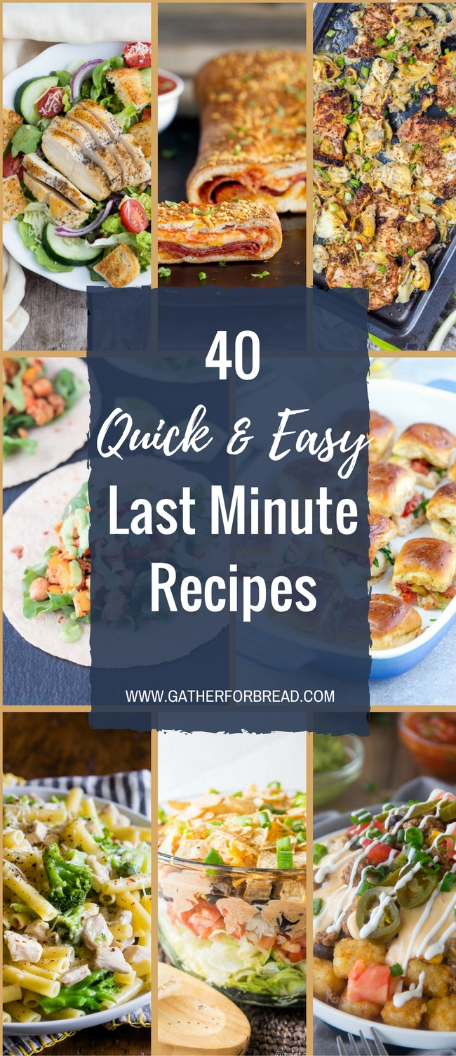 Last Minute Meals - Quick last minute dinner recipe ideas for guests. When company is coming and you need easy meals to put on the supper table.