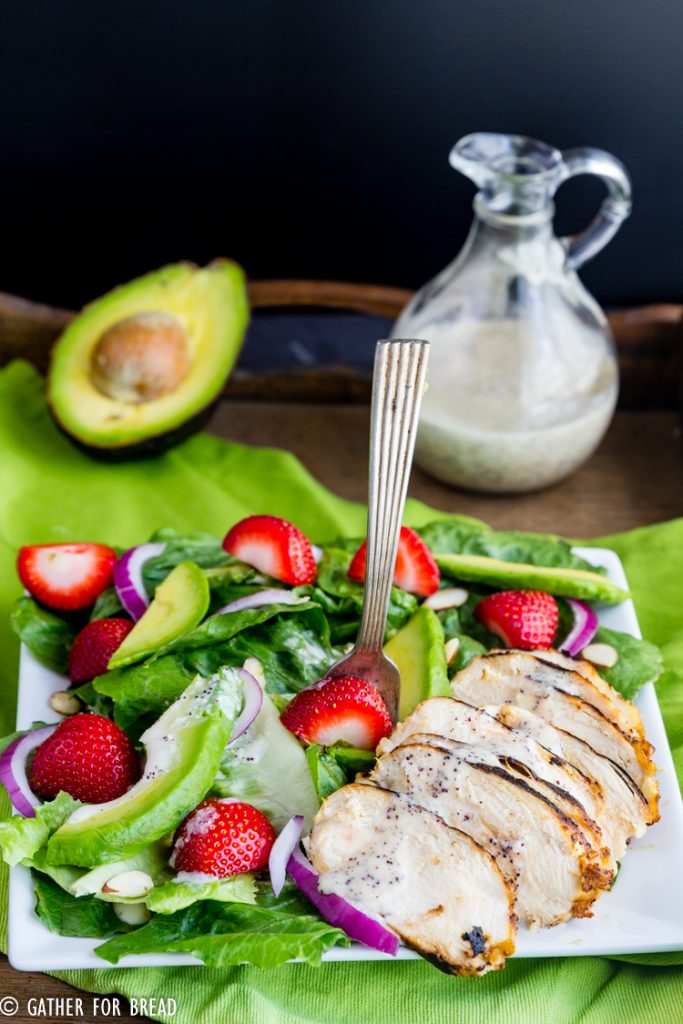 Grilled Chicken  Salad with Strawberries and  Poppy Seed Dressing - Savory romaine greens topped with fresh grilled chicken paired with strawberry, avocado, and sweet onion poppy seed dressing.