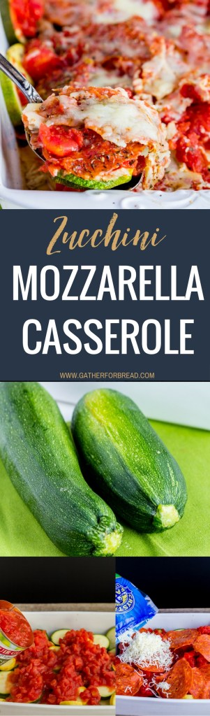 Zucchini Mozzarella Casserole - Recipe for cheesy zucchini casserole. With diced tomatoes, mozzarella cheese and pepperoni, this squash bake will be a family favorite summer side dish.
