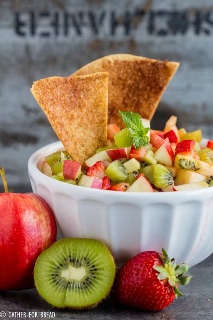Apple Berry Salsa - Homemade fruit salsa made with strawberry, appleand kiwi paired with fresh warm cinnamon chips for a delicious appetizer or snack.