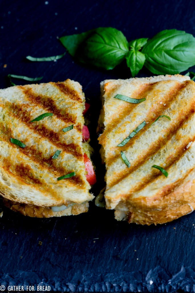 Pesto Grilled Cheese - Your favorite sandwich bread slathered with pesto, fresh tomatoes and grilled to perfection. This easy gourmet grilled cheese may be your new favorite lunch.